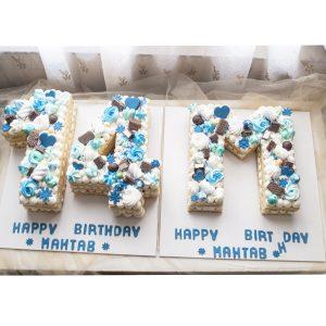 کیک تولد ترکیب حرف ام و عدد 14
