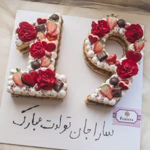 کیک تولد عدد 19