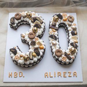کیک تولد عدد 30