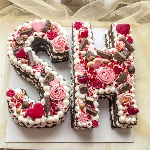 کیک تولد حروف SH تم انار و صورتی