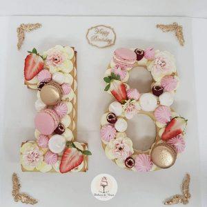 کیک و بیسکوکیک عدد 18 صورتی طلایی