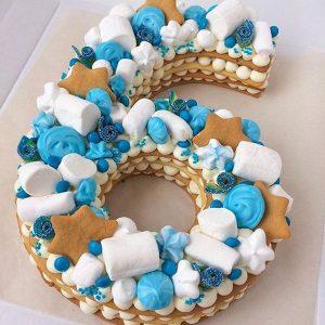 کیک و بیسکوکیک عدد 6 تم آبی