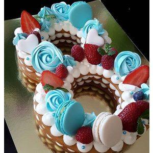 کیک و بیسکوکیک عدد 8 تم آبی توت فرنگی