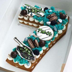 کیک و بیسکوکیک عدد 7 تم آبی