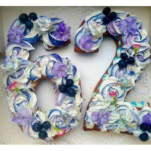 کیک و بیسکوکیک عدد 62 بنفش