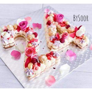 کیک عدد 24 خامه ای با تم گل