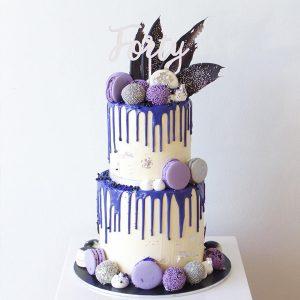 deliciousbysara 1 300x300 - سفارش کیک تولد دو طبقه تم نیلی سفید