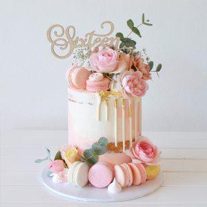 سفارش کیک تولد صورتی پنکیکی