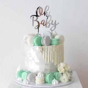 deliciousbysara 3 300x300 - سفارش کیک تولد با ماکارون تم نقره ای سبز