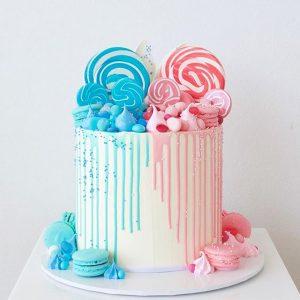 deliciousbysara 5 300x300 - سفارش کیک تولد با شکلاتی تم آبی  صورتی