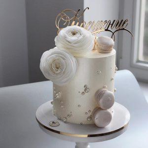سفارش کیک نامزدی تم صدفی با گل