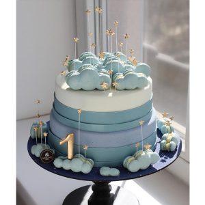 سفارش کیک تولد تم ماکارون ابری