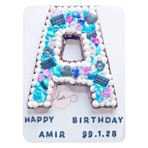 کیک تولد حرف A تم آبی